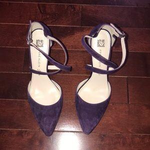 Purple Suede Strappy Heels